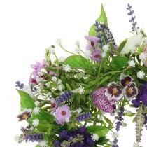 Wreath checkerboard flower / lavender / lilac Ø28cm
