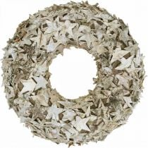 Decorative wreath stars birch bark Christmas wreath birch Ø30cm