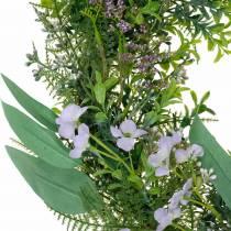 Decorative wreath eucalyptus, fern, flowers Artificial wreath table wreath
