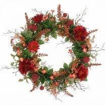 Autumn wreath silk flowers red gerbera thistle door wreath Ø42cm