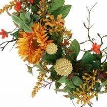 Autumn wreath silk flowers yellow gerbera thistle wall wreath Ø42cm