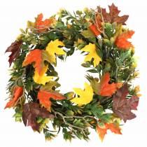 Wreath of autumn leaves artificially green, yellow, orange Ø45cm