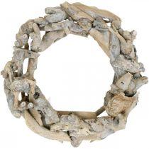 Decorative wreath wood root wreath white washed Ø35cm H9cm
