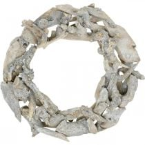 Wreath root wood gray natural decoration root wreath Ø40cm H9cm