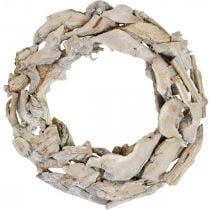 Wooden wreath roots and branches White washed decorative wreath Ø40cm H9cm