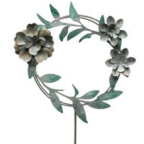 Garden pin flower wreath metal H63cm