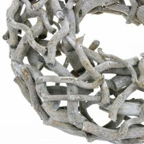 Decorative wreath, wooden wreath, limed gray, corkscrew willow Ø40cm