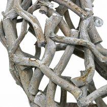 Decorative wreath wood, limed gray, natural wreath table decoration Ø50cm
