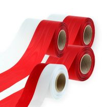 Wreath ribbons Moiré white-red