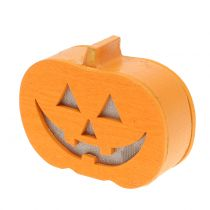 Pumpkin decoration with light 8,5cm 4pcs