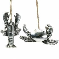 Deco cancer and lobster to hang antique silver 9cm 2pcs