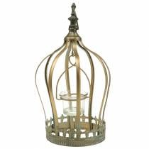 Crown tealight holder gold Ø19cm H29cm