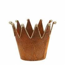 Decorative pot Crown Rust patina Golden Ø13,5cm H11,5cm 2pcs