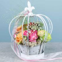 Crown with shell metal decoration white H26cm