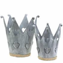 Zinc pot crown hearts washed gray set Ø12 / 14cm