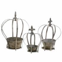 Deco crown antique gray planter 3pcs