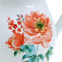 Decorative jug, flower vase vintage look, enamel jug with rose motif H19cm