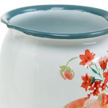 Decorative jug with wild roses, enamel jug, metal vase vintage look H12.5cm