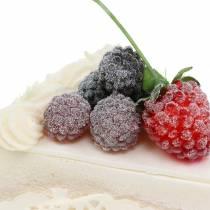 Pie piece raspberry artificial 10cm