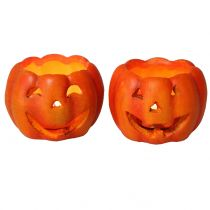 Pumpkin lantern Orange Ø8,5cm H6,5cm 2pcs