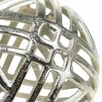 Decorative sphere pierced metal silver Ø20cm