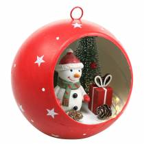 Christmas ball to hang snowman and LED red Ø14cm For batteries