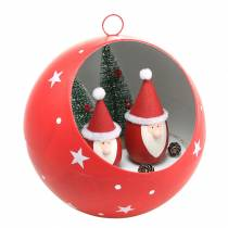 Christmas ball to hang Santa Clauses and LED red Ø20cm For batteries