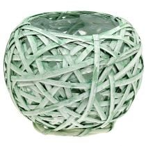 Sphere pot made of chip Ø23cm H19cm green