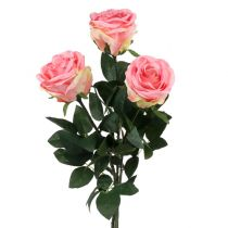 Artificial Flower Rose filled pink Ø10cm L65cm 3pcs