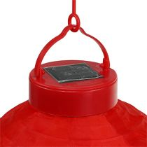 Lampion LED with solar 20cm red