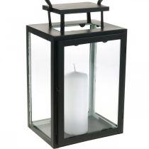 Decorative lantern black metal, rectangular glass lantern 19x15x30.5cm