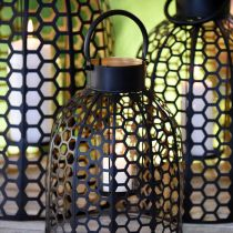 Lantern metal black large candle holder H52 / 40 / 30cm set of 3