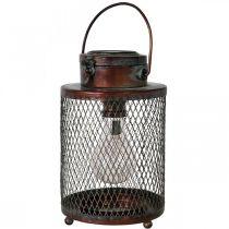 Metal lantern, solar lamp, LED, antique optics Ø13.5cm H28.5cm