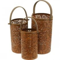 Metal lantern with patina, summer decoration, lantern set with paisley pattern Ø20 / 19 / 14cm H23.5 / 17 / 12.5cm