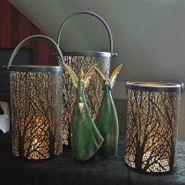 Metal lantern, lantern with tree, autumn decoration, black, golden Ø20 / 19 / 14cm H23.5 / 17 / 12.5cm