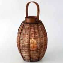 Braided lantern, candle decoration, wooden lantern with handle Ø25cm H34.5cm