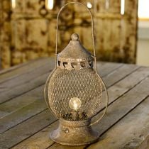 Metal lantern, LED lamp, Shabby Chic Ø16cm H33.5cm