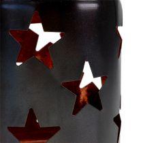 Lantern with star pattern black-copper Ø10cm H13,5cm