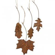 Leaves metal to hang rust brown autumn leaves 7.5-10cm 4pcs