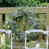 Mediterranean lavender wreath Ø50cm, artificial flower wreath with lavender and rosemary
