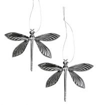 Dragonflies for hanging silver 6,5cm x 5cm 36pcs