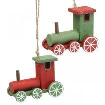 Locomotive Christmas tree decorations wood red, green 8.5 × 4 × 7cm 4pcs