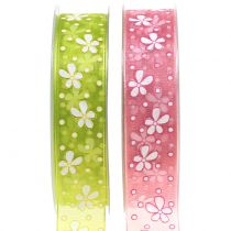 Organza ribbon flowers 25mm 20m