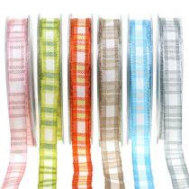 Deco ribbon check with wire edge 15mm L20m