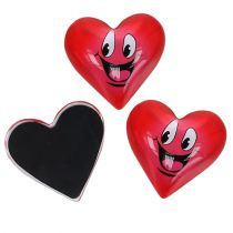 Magnet Heart Smeili Red 4cm 6pcs