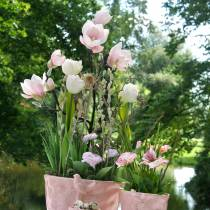 Magnolia branch pink artificial magnolia silk flowers