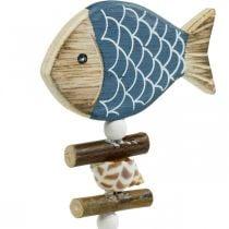 Maritime decorative plugs, fish and shells on the stick, marine decorations, wooden fish 6pcs