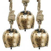 Metal bells to hang, country house decoration, golden cowbells, antique look 5 × 3.5cm 12pcs