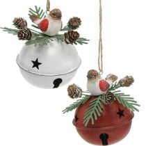 Bells with robins, bird decorations, winter, decorative bells for Christmas white / red Ø9cm H10cm set of 2