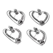 Metal hearts silver 3cm 6pcs